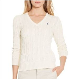 💕Ralph Lauren cream cable knit v neck sweater